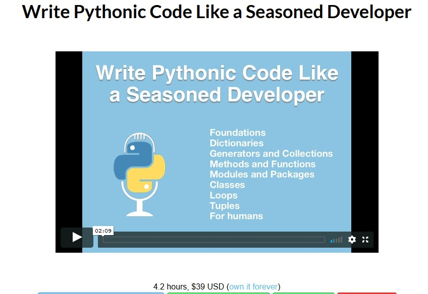 [TalkPython] Write Pythonic Code Like a Seasoned Developer