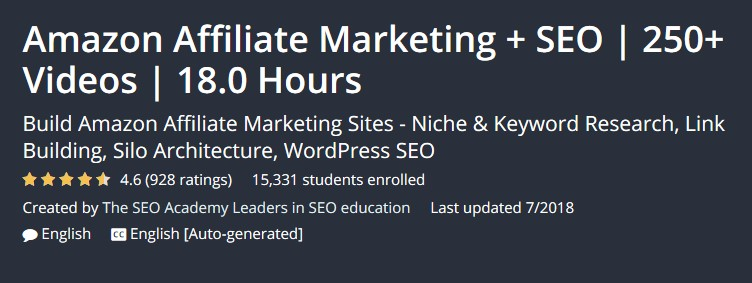 Amazon Affiliate Marketing + SEO | 250+ Videos | 18.0 Hours