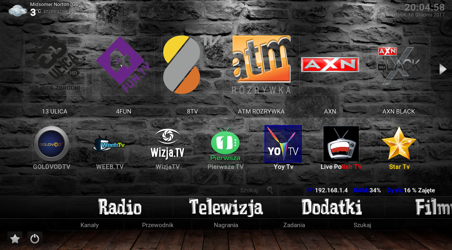 Kodi 17.6 + Polska TV / VOD [Ipla / GoldVod / IPTV / Sport / Tv / XXX / Muzyka / i wiele więcej]