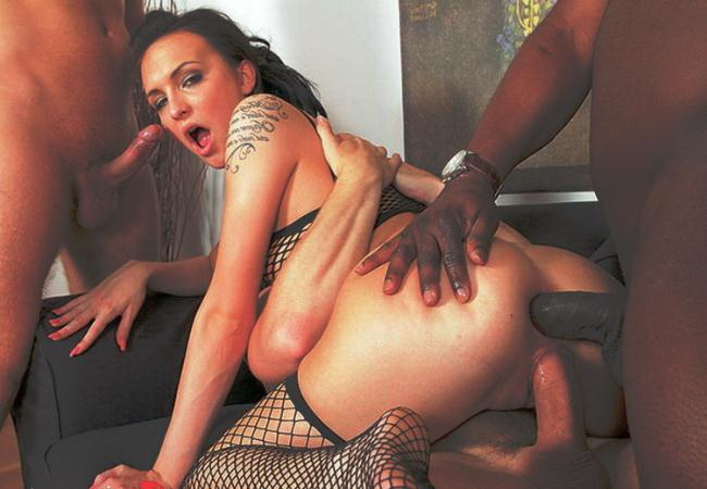 XTime.tv: Interracial gang bang for a hot brunette Starring: Belle Claire