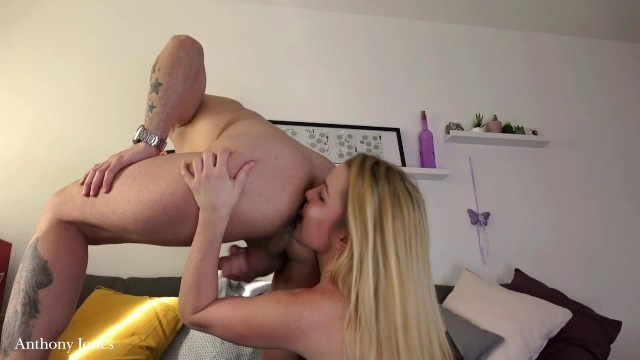 AnthonyJonezs: Spitting on hot blonde rimming each other ass cock riding creampie and piss play Starring: Unknown