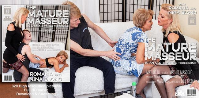 Nina Blond (49) - A granny and a MILF seduce a young masseur in a threesome (2021 Mature.nl) [FullHD   1080p  1.89 Gb]
